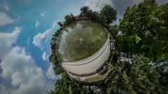 360Vr Video Sun Reflection in Shallow Pond Green Summer Park Paving Tiles Stock Footage