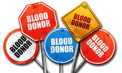 blood donor, 3D rendering, rough street sign collection - stock illustration