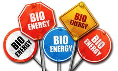 Bio energy, 3D rendering, rough street sign collection Stock Illustration