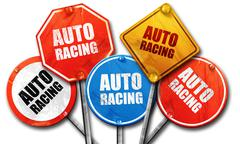 Auto racing, 3D rendering, rough street sign collection Stock Illustration