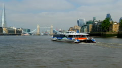 From the Thames - Shard, Tower Bridge, Cheese Grater - stock footage