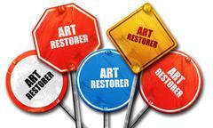 Art restorer, 3D rendering, rough street sign collection Stock Illustration