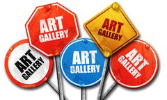 Art gallery, 3D rendering, rough street sign collection Stock Illustration