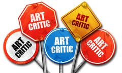 art critic, 3D rendering, rough street sign collection - stock illustration