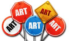 Art, 3D rendering, rough street sign collection Stock Illustration