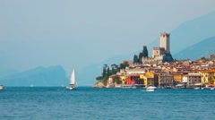Malcesine old town castle at Garda lake Stock Footage