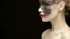 Beautiful Mature Woman Wearing Black Carnival Mask - stock footage