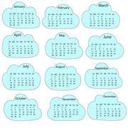 2017 calendar template. First day Sunday. Illustration in vector format Stock Illustration