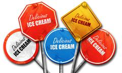 Delicious ice cream, 3D rendering, rough street sign collection - stock illustration