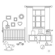 Baby room line interior Stock Illustration