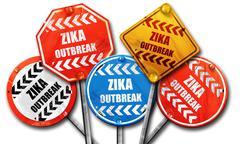 Zika virus concept background, 3D rendering, rough street sign c - stock illustration