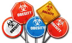 Obesity concept background, 3D rendering, rough street sign coll - stock illustration