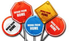 work from home, 3D rendering, rough street sign collection - stock illustration