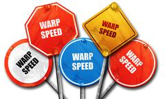 warp speed, 3D rendering, rough street sign collection - stock illustration