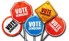 vote democrat, 3D rendering, rough street sign collection - stock illustration