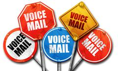 voice mail, 3D rendering, rough street sign collection - stock illustration