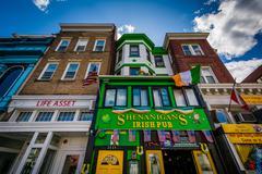Businesses on 18th Street in Adams Morgan, Washington, DC. Stock Photos