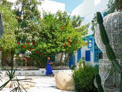 SIDI BOU SAID, TUNISIA - August 29, 2007. Traditional white and blue interior Stock Photos