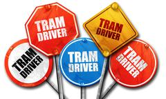tram driver, 3D rendering, rough street sign collection - stock illustration