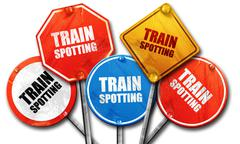 Trainspotting, 3D rendering, rough street sign collection Stock Illustration