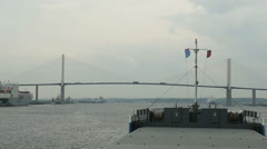 Ship navigating under the Dartford Crossing - stock footage