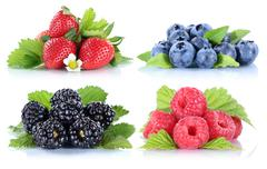 Berries strawberries collection blueberries berry fruits isolated on white Stock Photos
