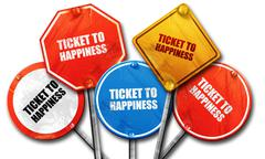 ticket to happiness, 3D rendering, rough street sign collection - stock illustration