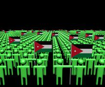 Crowd of abstract people with many Jordanian flags illustration - stock illustration