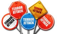 terror attack, 3D rendering, rough street sign collection - stock illustration