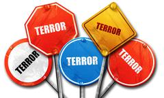 Terror, 3D rendering, rough street sign collection Stock Illustration