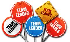 team leader, 3D rendering, rough street sign collection - stock illustration