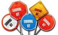 Survival kit sign, 3D rendering, rough street sign collection Stock Illustration