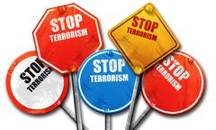 stop terrorism, 3D rendering, rough street sign collection - stock illustration