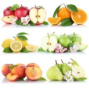 Fruits apple orange lemon peach apples oranges fruit collection isolated on a - stock photo