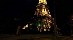 The Eiffel tower from bottom to top at night in Paris Stock Footage