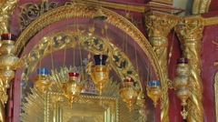 Gilded Image of Mary Icon Lamps in Church Trinity Day Service Seven-Domed Stock Footage