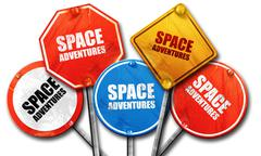 space adventures, 3D rendering, rough street sign collection - stock illustration