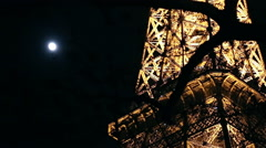 Moon and the Eiffel tower in Paris Stock Footage