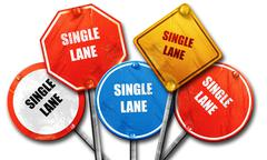 Single lane sign, 3D rendering, rough street sign collection Stock Illustration