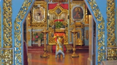 Trinity Day Service Kiev Ukraine Church Interior Religious Images Golden Stock Footage