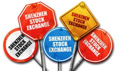 shenzhen stock exchange, 3D rendering, rough street sign collect - stock illustration