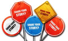 Share your story, 3D rendering, rough street sign collection Stock Illustration