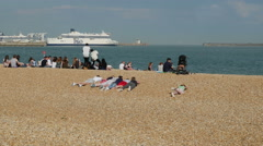 Tourists visiting Dover Harbour Beach - stock footage