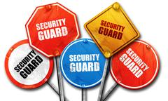 security guard, 3D rendering, rough street sign collection - stock illustration