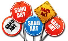 Sand art, 3D rendering, rough street sign collection Stock Illustration