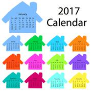 2017 calendar template in the form of colorful hand-drawn houses. First day Stock Illustration