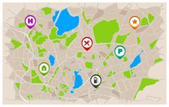 Generic Navigation Map Stock Illustration