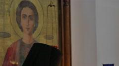 Nun in Clerical Garments in Church Poltava Ukraine Trinity Day Holy Cross Stock Footage
