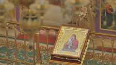 Icon of Mary With Child Trinity Day Service Seven Domed Cathedral Panorama of Stock Footage