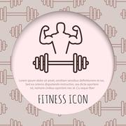 Fitness line art icon for your design - stock illustration